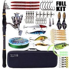 #fishingshopnow Sougayilang Fishing Rod and Reel Combos - Telescopic Fishing Pole with Fishing Reel Box Line Lures Hooks… #fishingshopnow
