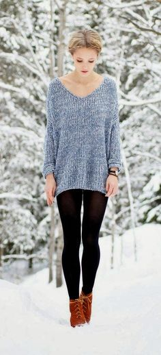 Cute legging and oversized sweater fall combo