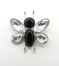 Vintage Black And White Rhinestone Butterfly Brooch Pin In Silvertone Metal