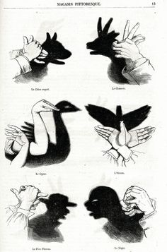 vintage French 1863 Chinese shadow puppetry by LyraNebulaPrints - [from someone else's caption] Shadow Art, Shadow Play, Shadow Puppets With Hands, Hand Shadows, Shadow Theatre, Parlor Games, Victorian Parlor, Hand Puppets, Hand Art