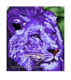Abstract vibrant plum purple Lion artwork print by DuBrayDesigns