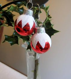 Christmas Earrings Red White Christmas Bulb by SmithNJewels, $13.00