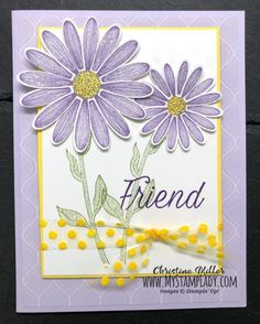 Custom Pineapple Punch Polka Dot Ribbon by cmstamps - Cards and Paper Crafts at Splitcoaststampers Daisy Delight Stampin' Up, Custom Ribbon, Friendship Cards, Stamping Up Cards, Pineapple Punch, Cards For Friends, Flower Cards, Homemade Cards, Cute Cards