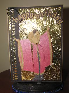 Cricut Cartridges used: Art Deco and Paper Lace 2. Anna Griffin embossing folder and Martha Stewart cathedral lace punch around the page
