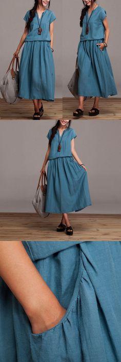 Cotton Linen Dress summer short sleeve