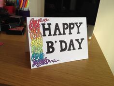 Simple Birthday Card. Rainbow card. 100% hand drawn card.