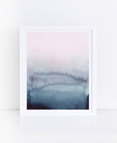 Pink Blue Abstract Art Pink Blue Prints Watercolor Printable