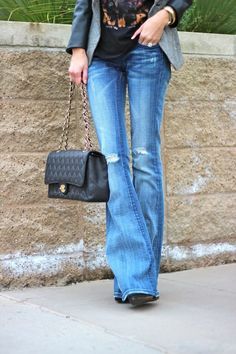 flare destroyed jeans + Chanel