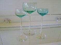 Antique Aquamarine Crystal Stemware Set of 3 by DivineOrders