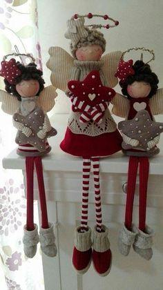navidad Eye Makeup eye makeup over 55 Country Christmas Decorations, Christmas Crafts For Gifts, Christmas Sewing, Christmas Angels, Christmas Art, Christmas Projects, Xmas Decorations, Wrapping Gift, Angel Crafts