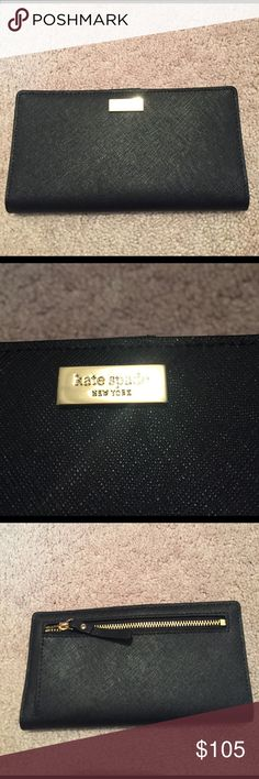 NWT Kate spade black wallet New with tags Kate spade black wallet. There is room for many cards and cash on the inside as well as a change zippered pocket on the back. kate spade Bags Wallets