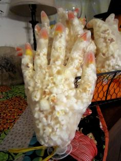 Halloween Party Ideas for Kids and Teens! (Popcorn & Candy Corn 'hands' stuffed in Latex Gloves)