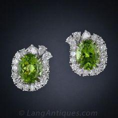 Peridot Platinum and Diamond Earrings - Vintage Jewelry