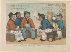 """The Welch Sailor's Mistake or Tars in Conversation"" (caricature) - Thomas Rowlandson, Thomas Tegg, George M. Vintage Wall Art, Vintage Walls, Male Friendship, Navy Uniforms, Sailor Outfits, Maritime Museum, Hand Coloring, Caricature, Mistakes"