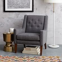 Romeo Fabric Accent Chair | Domayne Online Store  Doesn't have to be this exact chair but I do like the idea of a simple chair with an unusual back design on it.