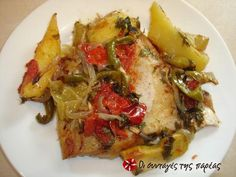 Great recipe for Fish plaki. A recipe for fish plaki (fish in the oven with vegetables) that is very easy to make. Recipe by Sitronella Greek Recipes, Fish Recipes, Greek Fish, Greek Cooking, Angel Hair, Recipe Images, Fish And Seafood, Tray Bakes, Dinner Recipes