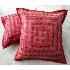 (SKU no: kmic 2001b) 2 Red Mirror Work Embroidery Indian Sari Throw Pillow Toss Cushion Covers, Krishna Mart India