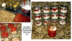 Strawberry Cheesecake Jars (S) Make batch of Slim Belly Jelly (page 411). Roast sliced almonds (or other nuts as desired). Set both aside to cool.  Whip 1 cup heavy cream until soft peaks form, then add 8 oz cream or neufchatel cheese, 1-2 doonks stevia, and 1/2 tsp vanilla and blend. Spoon this mixture into the bottom of 12 mini jars (these are 4 oz), then add nuts and slim belly jelly. Close off the containers and refrigerate. Can also use larger jars and layer berries on the bottom.