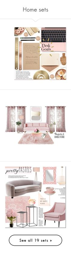 """""""Home sets"""" by cherrysnoww ❤ liked on Polyvore featuring interior, interiors, interior design, home, home decor, interior decorating, Dempsey & Carroll, Blackbird Letterpress, Kensie and Gus* Modern"""
