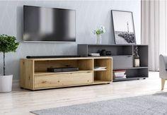 Urządzając strefę telewizyjną w swoim salonie nie możemy zapomnieć o oryginalnym i modnym stoliku RTV. Odpowiednio dopasowana szafka zapewni wystarczającą ilość miejsca na telewizor, głośnik i inne przedmioty a do tego będzie się elegancko prezentować. Modern Design, Flat Screen, Teak, Furniture, Home Decor, Minimalism, Living Room, Console, Blood Plasma