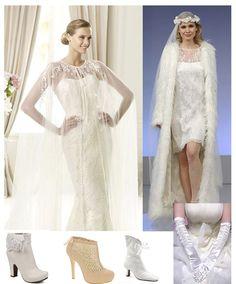 accessoires de mariage en hiver inclus le manteau, les bottines fermées en blanche et les gantes longues