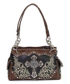 Loving this Black Rhinestone Cross Shoulder Bag on #zulily! #zulilyfinds