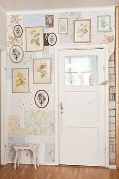 vintage wallpaper patchwork wall-- where? Bottom,of kitchen walls?