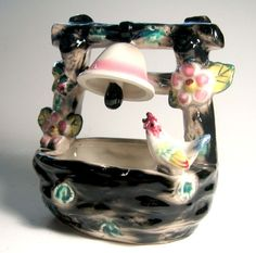 Wishing Well Planter Art Pottery Planter Black by flabbyrabbit