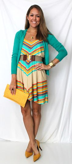 LOVE this look, with a longer dress... I just bought a maxi dress that's chevron, perfect! :)