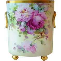 Vintage William Guerin Limoges France Cache Pot Vase Hand Painted Roses signed Ida Sommer /measures tall and by across the top rim
