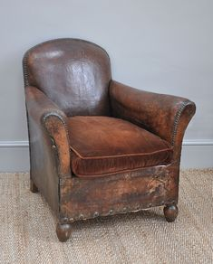 Antique French Leather Club Chair - Bring It On Home
