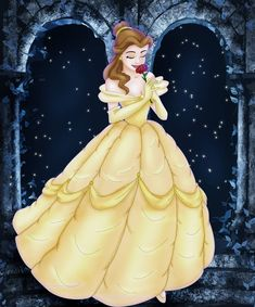 Belle roses by Sonala on DeviantArt Disney Beauty And The Beast, Walt Disney Company, Disney Dresses, Disney Fan Art, Art Challenge, Disney Cartoons, Disney Inspired, Cartoon Wallpaper, Yellow Dress