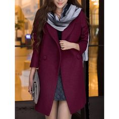 Stylish Long Sleeves Solid Color Pockts Wool Coat For Women