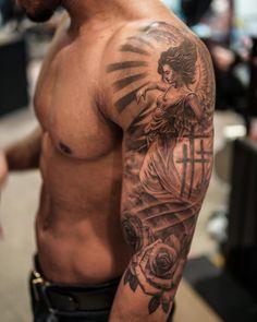 Badass Sleeve Tattoos, Left Arm Tattoos, Tribal Shoulder Tattoos, Half Sleeve Tattoos For Guys, Mens Shoulder Tattoo, Arm Band Tattoo, Names Tattoos For Men, Unique Tattoos For Men, Religious Tattoo Sleeves