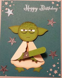Star Wars Yoda Punch Art birthday card 1-3/8 Inch Circle Punch (head, embossed w/ Square Lattice Folder) Bird Punch (Yoda's signature ears) 1/2 Inch Circle Punch (eyes, black dots are markered on) Labels Collection Framelits Dies (robe/sleeves) Word Window Punch (lightsaber, with rhinestone on handle) Boho Blossoms Punch (feet/hands) Confetti Stars Punch [135861] (accents on background) Itty Bitty Accents Punch Pack (small stars, Silver Glimmer Paper)