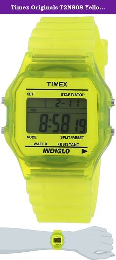Timex Originals T2N808 Yellow Classic Digital Watch. Case - Case Material: Poly Carbonate - Case Shape: Rectangular - Case Colour: Yellow - Bezel made of: Plastic - Crystal: Plastic - Back: Stainless steel back Movement - Display Type: LCD (digital) - Movement: Quartz - Calendar: Weekday + Date + Month - Dial Style: LCD - Illuminated: fluorescent (green) Strap - Strap Colour: Pink, Yellow - Clasp: Buckle clasp - Strap Material: Plastic Further Details - Product: Watch - Manufacturer: Timex…