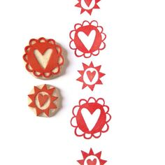 Handmade Hearts Pattern Stamp Set - Hand Carved Stamps. $14,00, via Etsy.