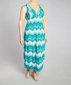 58076d322a1 jon   anna Teal Zigzag Shirred Maxi Dress - Plus
