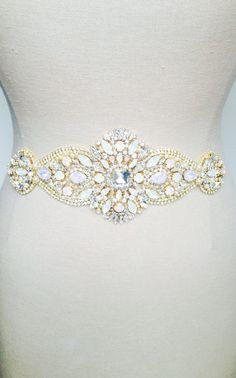 Crystal Opal Bridal Belt-Vintage Wedding-One of a by KNRHANDMADE