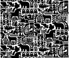 This gorgeous ornamental print was created by new Marimekko designer Sanna Annukka. Kanteleen Kutsu depicts a scene from the Finnish classic, The Kalevala, in which animals gather to hear Väinämöinen play his stringed instrument. Textile Patterns, Textile Design, Print Patterns, Animal Patterns, White Patterns, Fabric Design, Marimekko Fabric, Arte Sketchbook, Art Graphique