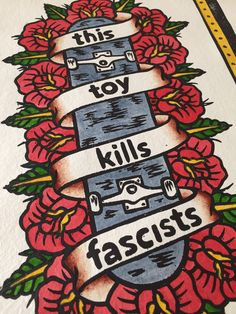 Excited to share this item from my shop: This Toy Kills Fascists - hand coloured lino print Handmade Home Decor, Handmade Art, Lino Cuts, Lino Prints, One Design, Hand Coloring, Design Process, Watercolour Painting, Traditional Tattoo