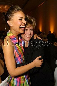 Natalie Portman and Carrie Fisher. Aw! Mother and Daughter. I've never even seen a picture of the two together. So cute! <3
