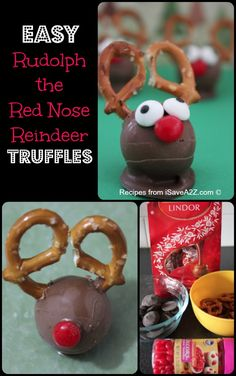 Easy Christmas Treats Idea: Rudolph Reindeer Truffles - iSaveA2Z.com