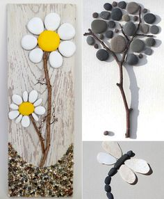 Decorating Ideas-with-stones-for-inside-and-außen_cooole-wanddeko-images with-stone- Crafts To Sell, Diy And Crafts, Crafts For Kids, Arts And Crafts, Outside Decorations, Ideas Hogar, Shell Art, Mothers Day Crafts, Pebble Art