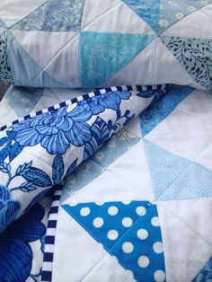 Modern baby quilt for boy & girl/summer blue blossom on Etsy, $145.00