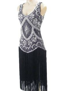 "20s Reproduction Silver Beaded Black Fringed ""Jazz Baby"" Flapper Dress"