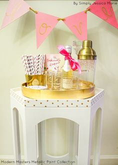 Polka Dots on Mini Bar Furniture with Modern Masters Olympic Gold Metallic Paint | Simply Jessica Marie