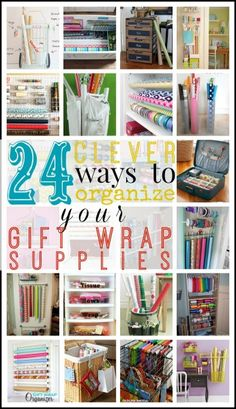 Get to wrapping all your gifts, but don't let it become an unorganized mess. Here are 24 clever ways to organize your gift wrapping supplies at tipsaholic.com #gifts #giftwrap #wrapping
