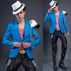 Fashion Men Blue Casual Fitted Hipster Blazers Suit Jackets Prom SKU-11401308
