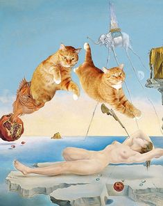 Artist Svetlana Petrova must have been feline funny when she decided to recreate some of the world's finest paintings - with her cat in them. Portly moggy Zarathustra is now immortalised in works by some of the great artists including Botticelli, Dali, Da Vinci and Monet. Artist Svetlana got the idea after friends told her her ginger cat was so funny she ought to use him in her work.
